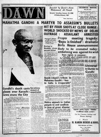 Front Page of Pakistan Newspaper DAWN on Assassination of Mahatma Gandhi, 31 Jan 1948